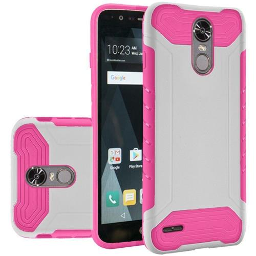 Insten Hard Dual Layer Rubber Coated Silicone Case For LG Stylo 3/Stylo 3 Plus - White/Hot Pink