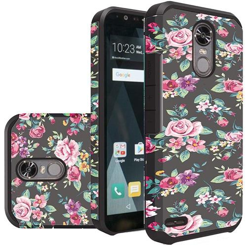 Insten Roses Hard Dual Layer Silicone Cover Case For LG Stylo 3/Stylo 3 Plus - Green/Pink