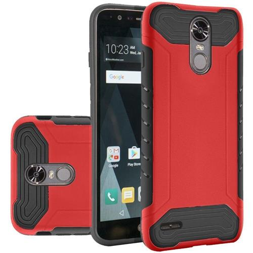 Insten Hard Hybrid Rubber Coated Silicone Cover Case For LG Stylo 3/Stylo 3 Plus - Red/Black