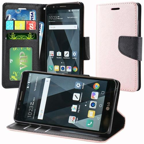 Insten Folio Case Lanyard w/stand/card slot/Photo Display For LG Stylo 3/Stylo 3 Plus, Rose Gold