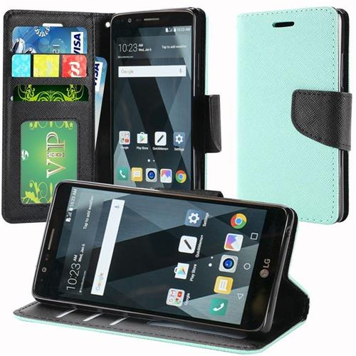 Insten Flip Case Lanyard w/stand/card holder/Photo Display For LG Stylo 3/Stylo 3 Plus, Teal