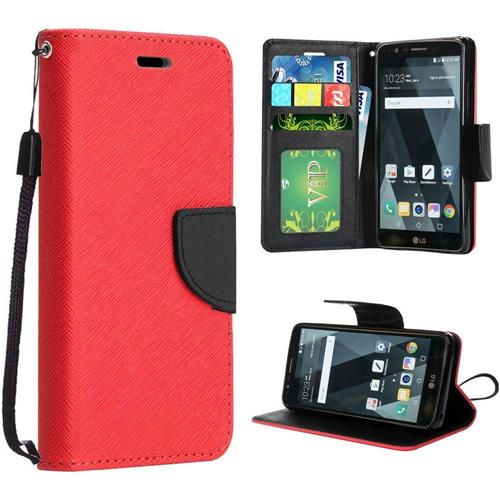 Insten Flip Case Lanyard w/stand/card holder/Photo Display For LG Stylo 3/Stylo 3 Plus, Red