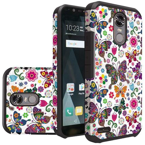 Insten Butterfly Flower Hard Hybrid Silicone Cover Case For LG Stylo 3/Stylo 3 Plus - Purple/White