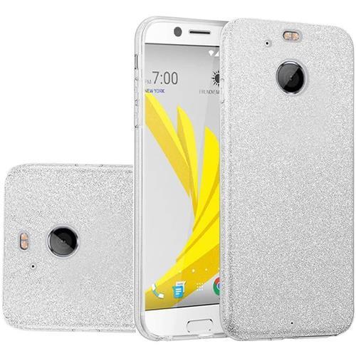Insten Hard Dual Layer Glitter TPU Cover Case For HTC Bolt - Silver
