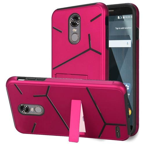 Insten Hard Hybrid TPU Cover Case w/stand For LG Stylo 3/Stylo 3 Plus - Hot Pink/Black