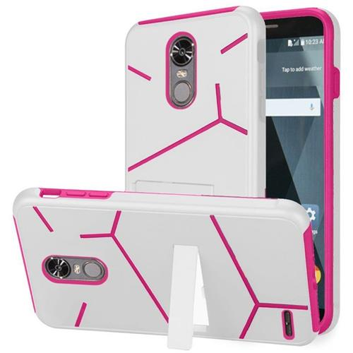 Insten Hard Hybrid TPU Case w/stand For LG Stylo 3/Stylo 3 Plus - White/Hot Pink