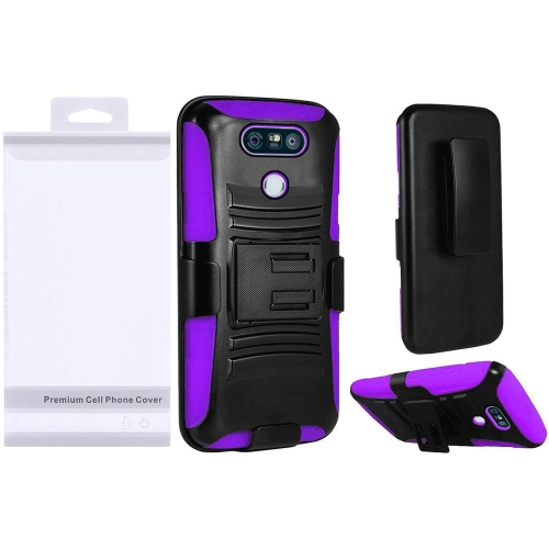 Insten Hard Dual Layer Plastic Silicone Case w/Holster For LG G6 - Black/Purple