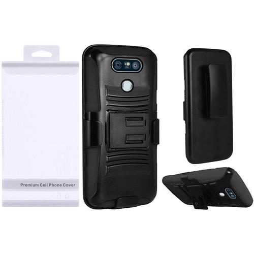 Insten Hard Hybrid Plastic Silicone Cover Case w/Holster For LG G6 - Black