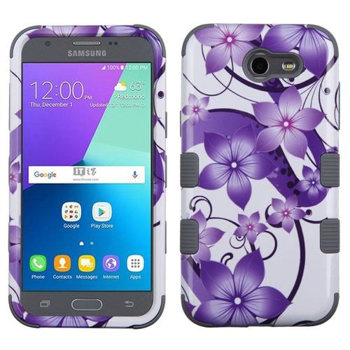 Insten Hibiscus Flower Hybrid Case For Samsung Galaxy Express Prime 2/J3 (2017), Purple/White