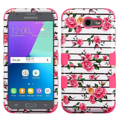 Insten Tuff Fresh Roses Hard Cover Case For Samsung Galaxy Express Prime 2/J3 (2017) - Pink