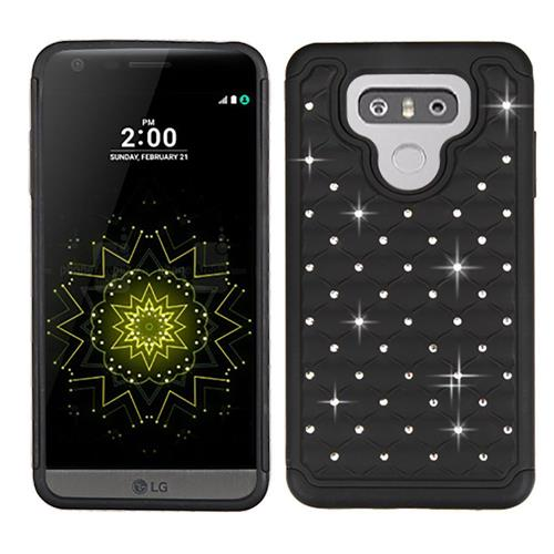 Insten Hard Dual Layer Rubber Silicone Case w/Diamond For LG G6 - Black