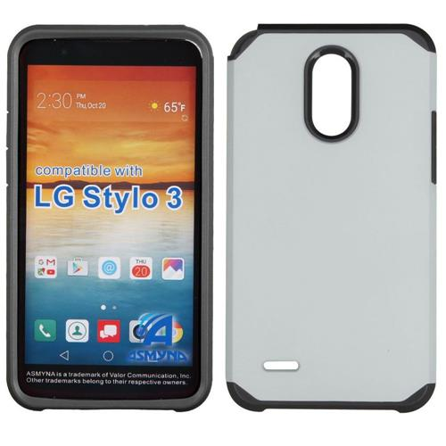 Insten Hard Hybrid TPU Cover Case For LG Stylo 3 - Silver/Black
