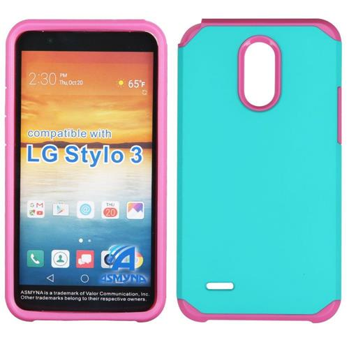 Insten Hard Hybrid TPU Cover Case For LG Stylo 3 - Teal/Hot Pink