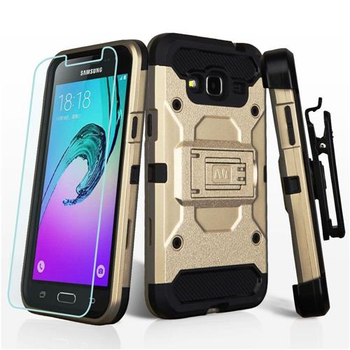 Insten For Samsung Galaxy Amp Prime/Express Prime Holster/Screen Protector Gold/Black