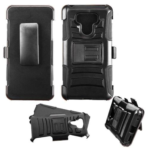 Insten Hard Hybrid Plastic Silicone Cover Case w/Holster For LG G6 - Black