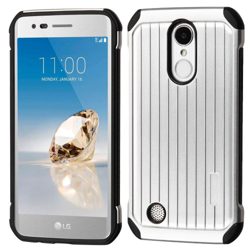 Insten Hard Hybrid TPU Case For LG Aristo/Fortune/K8 (2017)/LV3/Phoenix 3 - Silver/Black