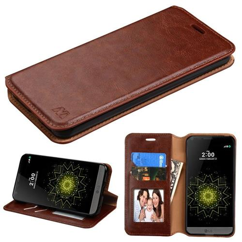 Insten Flip Leather Fabric Case w/stand/card slot/Photo Display For LG G6 - Brown