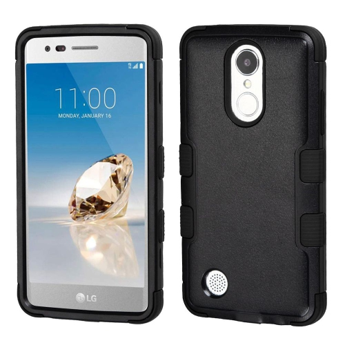 Insten Tuff Hard Hybrid Rubber Silicone Case For LG Aristo/Fortune/K8 (2017)/LV3/Phoenix 3 - Black