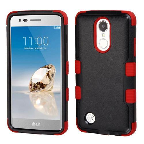 Insten Hard Rubber Silicone Cover Case For LG Aristo/Fortune/K8 (2017)/LV3/Phoenix 3, Black/Red