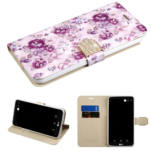 Insten Flowers Flip Leather Fabric Case w/stand/card holder/Diamond For LG Stylo 3 - Purple/White