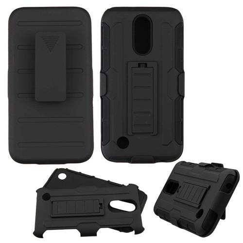 Insten Hard Dual Layer Plastic Silicone Cover Case w/Holster For LG K20 Plus/V5 - Black