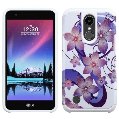 Insten Hibiscus Flower Romance Hard Hybrid Rubber Silicone Case For LG K20 Plus/V5, Purple/White