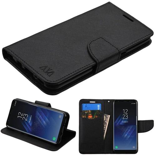 Insten Book-Style Leather Fabric Case w/stand/card holder For Samsung Galaxy S8 - Black