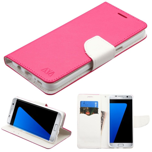 Insten Flip Leather Fabric Case w/stand/card slot For Samsung Galaxy S8 Plus - Hot Pink/White