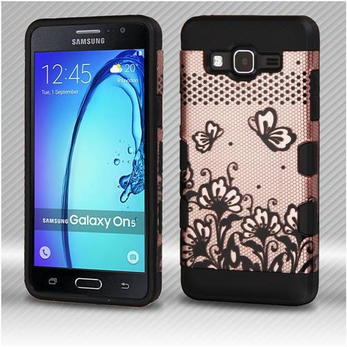 Insten Lace Flowers Hard Dual Layer TPU Cover Case For Samsung Galaxy On5 - Rose Gold/Black