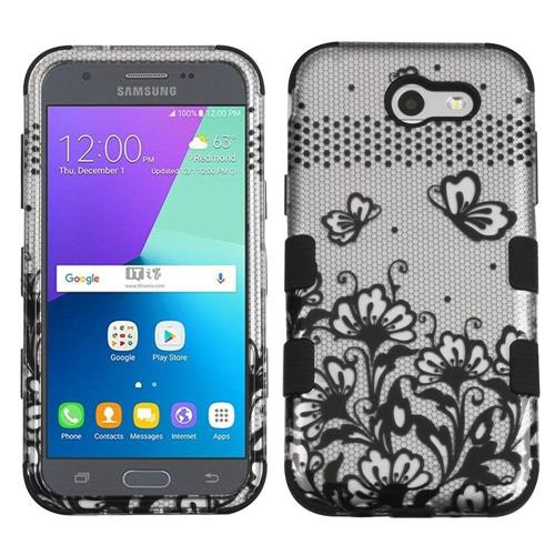 Insten Tuff Lace Flowers Hard Dual Layer Silicone Case For Samsung Galaxy J3 (2017) - Black