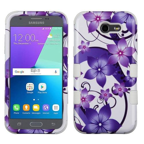 Insten Hibiscus Flower Hybrid Rubber Silicone Case For Samsung Galaxy J3 (2017), Purple/White