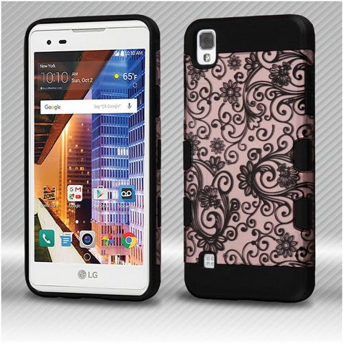 Insten Four-leaf Clover Hard Dual Layer TPU Cover Case For LG Tribute HD/X STYLE - Rose Gold/Black