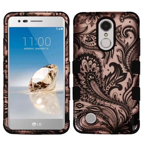 Insten Phoenix Flower Hard Dual Layer Rubber Coated Silicone Case For LG Aristo, Rose Gold/Black
