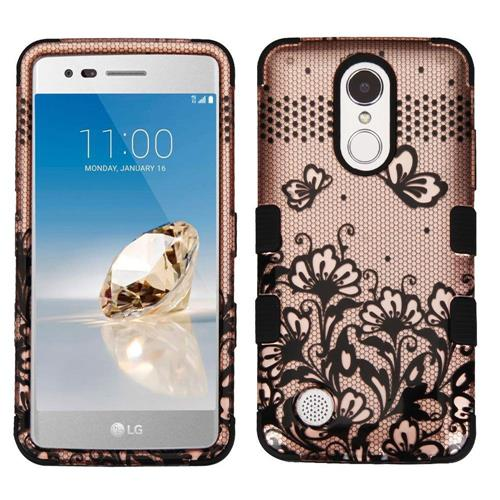 Insten Tuff Lace Flowers Hard Dual Layer Rubberized Silicone Case For LG Aristo - Rose Gold/Black