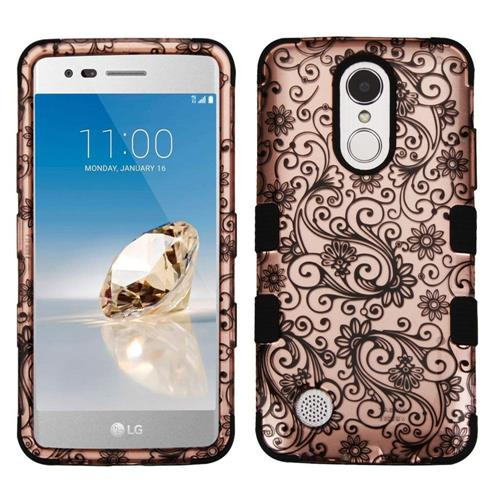 Insten Four-leaf Clover Hard Hybrid Rubber Coated Silicone Cover Case For LG Aristo, Rose Gold/Black