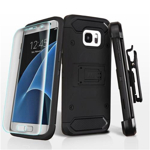 Insten Hard Hybrid Plastic TPU Case w/stand/Holster/Installed For Samsung Galaxy S7 Edge - Black