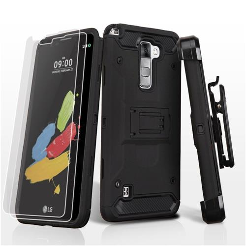 Insten Hard Hybrid Plastic TPU Case w/stand/Holster/Installed For LG Stylus 2 - Black