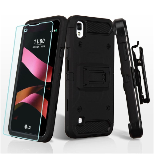 Insten Hard Hybrid Plastic TPU Case w/stand/Holster/Installed For LG Tribute HD/X STYLE - Black
