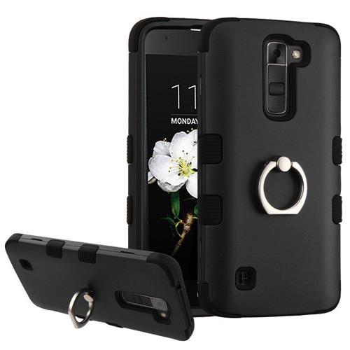Insten Hard Hybrid Rubber Silicone Case w/Ring stand For LG K7 Tribute 5/Treasure LTE - Black