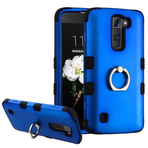 Insten Hard Rubber Silicone Cover Case w/Ring stand For LG K7 Tribute 5/Treasure LTE, Blue/Black