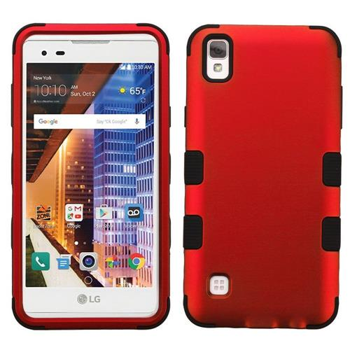 Insten Tuff Hard Hybrid Rubber Coated Silicone Case For LG Tribute HD/X STYLE - Red/Black