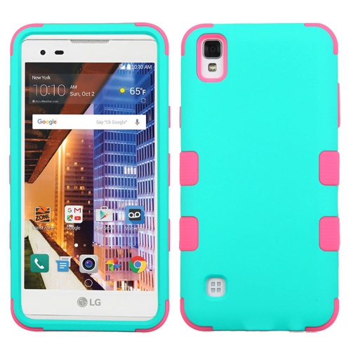 Insten Tuff Hard Hybrid Rubber Silicone Cover Case For LG Tribute HD/X STYLE - Teal/Pink