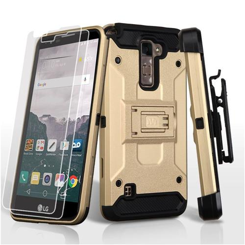 Insten Hard Dual Layer Plastic TPU Case w/stand/Holster/Installed For LG Stylo 2 Plus - Gold/Black