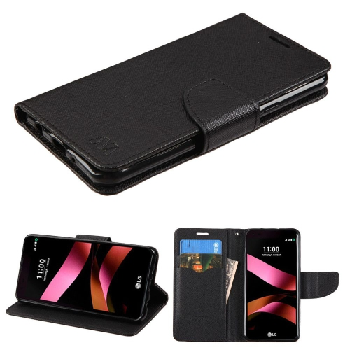 Insten Folio Leather Fabric Case w/stand/card holder For LG Tribute HD/X STYLE - Black