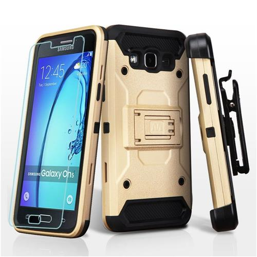 Insten Hard Hybrid Plastic TPU Case w/stand/Holster/Installed For Samsung Galaxy On5, Gold/Black