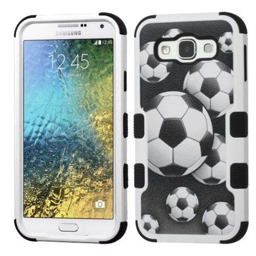 Insten Soccer Ball Collage Hard Rubber Coated Silicone Case For Samsung Galaxy E5, Black/White