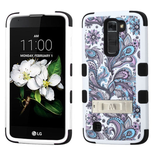 Insten European Flowers Hard Rubberized Silicone Case w/stand For LG K7 Tribute 5, Purple/White