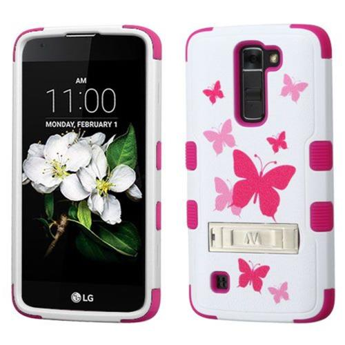 Insten Butterfly Dancing Hard Hybrid Rubber Silicone Case w/stand For LG K7 Tribute 5, Pink/White