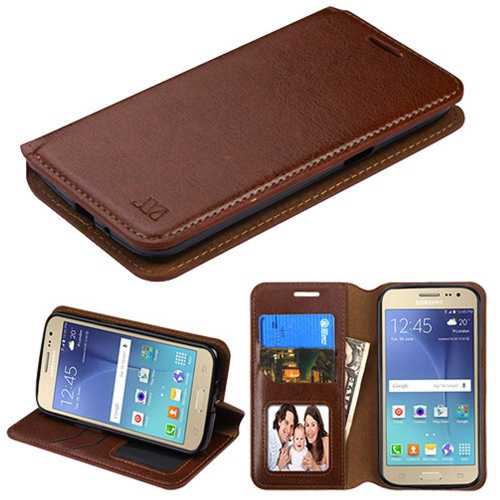 Insten Flip Leather Fabric Case w/stand/card slot/Photo Display For Samsung Galaxy J2 (2016) - Brown
