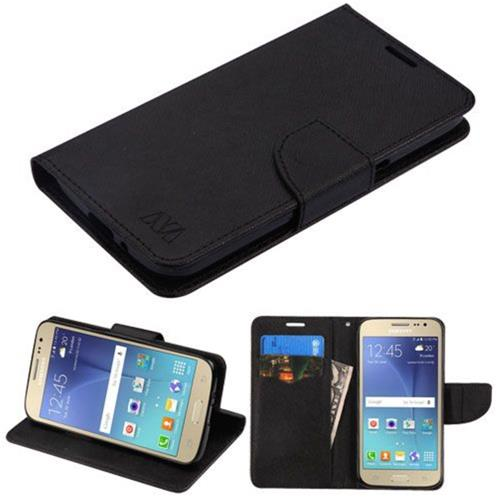Insten Book-Style Leather Fabric Cover Case w/stand/card slot For Samsung Galaxy J2 (2016) - Black